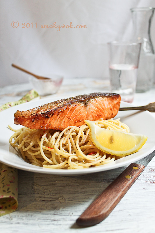 Crispy Skinned Salmon with Spaghetti