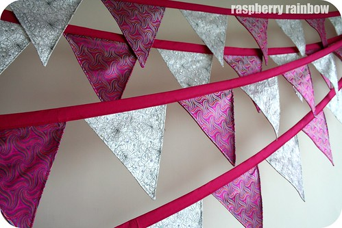 Pink and sparkly bunting.
