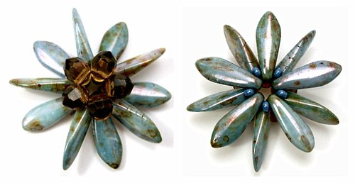 Blue and brown dagger flower