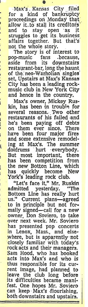 08-02-74 NYT Max's Kansas City Bankruptcy Filing News