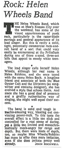 05-22-78 NYT Review - Helen Wheels @ Max's Kansas City