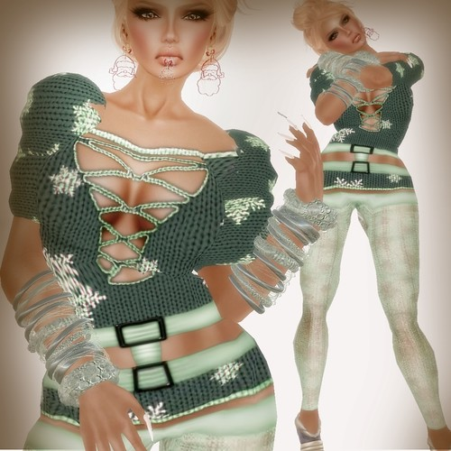 A&A Fashion Snowflake Sweater Green
