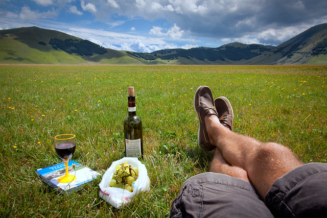 'Wine Break', Italy, Apennine Mountains, Umbria, Castelluccio di Norcia