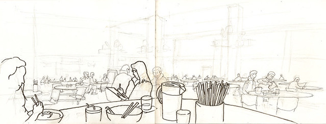 Unfinished Live Sketch at a Cooked Food Centre 深水埗北河街街市熟食中心