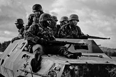 army, combat vehicle, violence, soldier, weapon, war, vehicle, tank, crew, monochrome, military, person, troop,