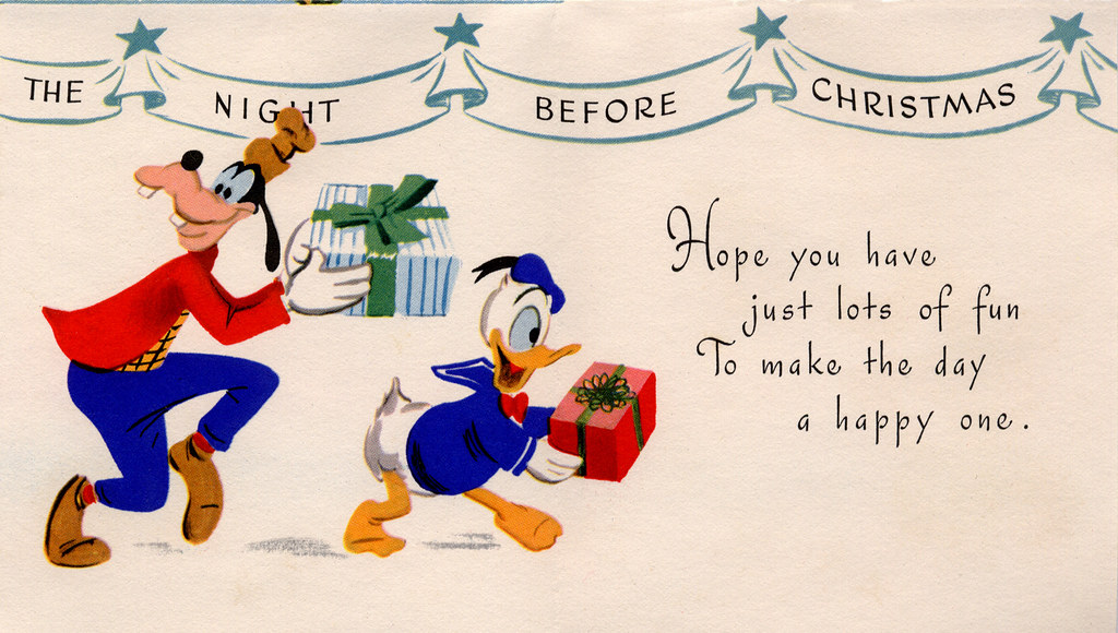 Vintage 1950s Christmas Card - Disney - a photo on Flickriver