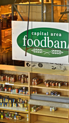 Shelves of food at the Capital Area Food Bank in Washington, DC.  The food bank has seen a 25 percent increase in demand since the start of the recession three years ago. Photo courtesy Geoff Livingston.