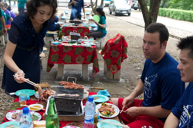 BBQ Lunch at North Korean Ultimate Frisbee Tournament