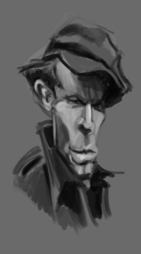digital caricature of Tom Waits - 1