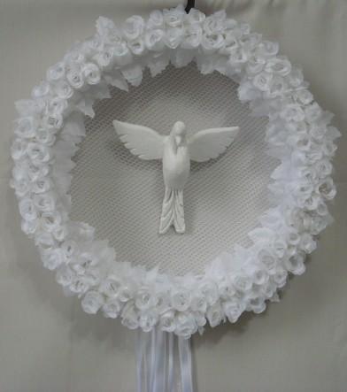 guirlanda com flores e divino by Panos e Contas