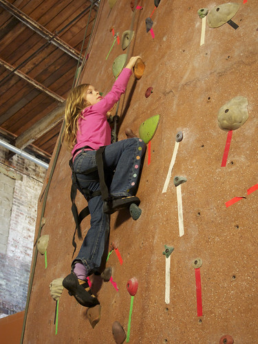 Erika with climbing shoes
