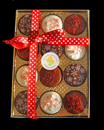 Holiday chocolate dipped oreo gift boxes top view