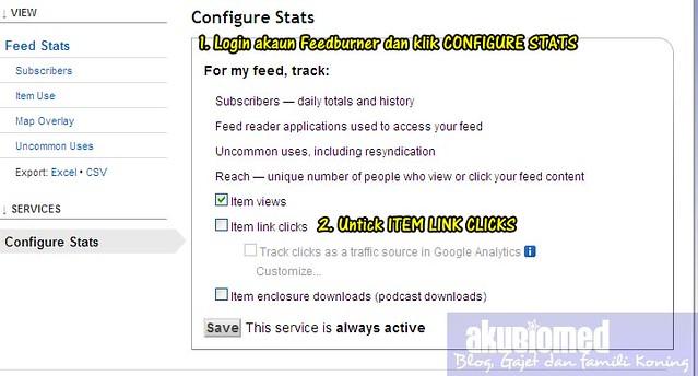 Cara set konfigurasi pada Feedburner