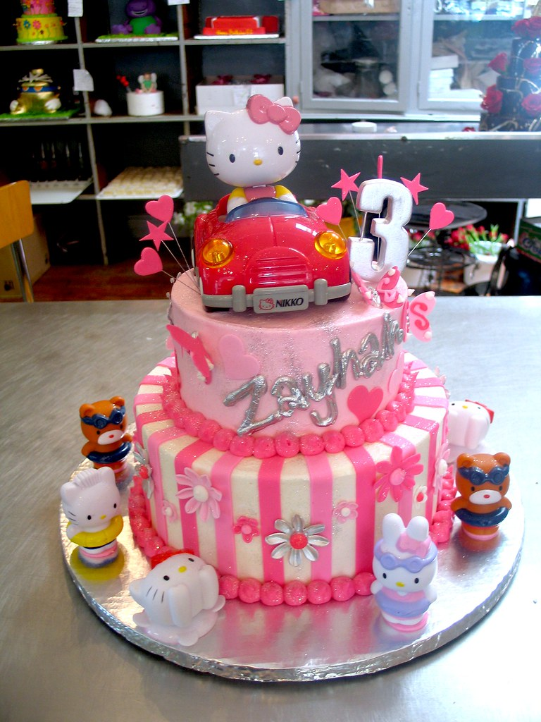 2 Tier Wicked Chocolate Hello Kitty Themed Cake Decorated With