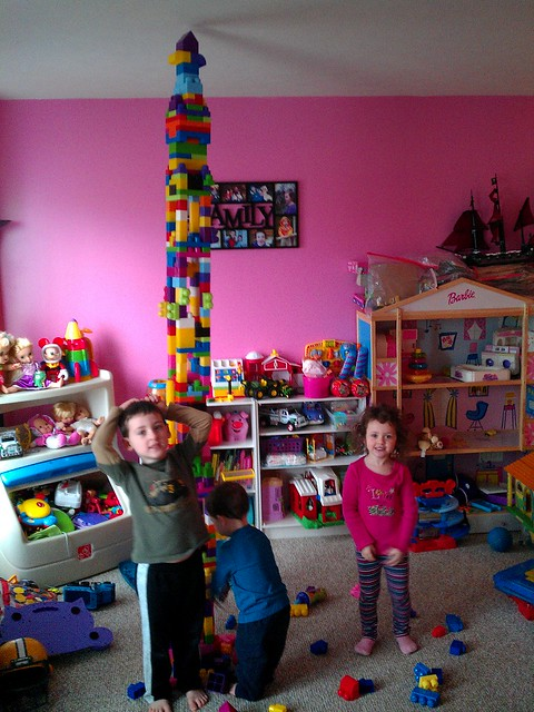 The kids and I made a big megablock tower! Lasted less than a minute