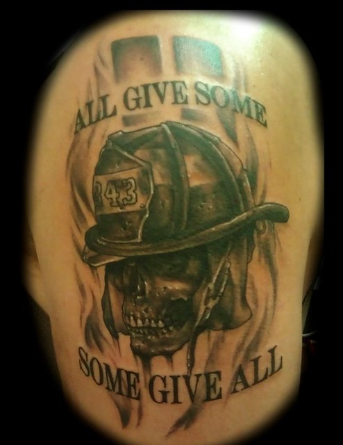 911 firefighter memorial skull tattoo by Jackie Rabbit