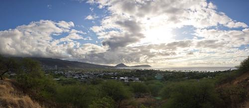 eastward view outside Diamond Head, O'ahu, Hawai'i (panorama)