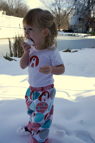 My girl loves to eat snow!