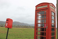 telephone box, postbox and Malverns