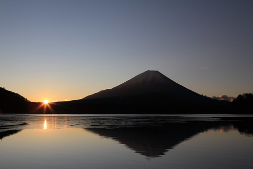 winter mountain sunrise fuji