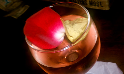 Rose petals in wine