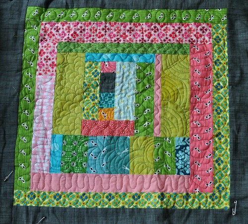 king size quilt, block 3 quilted