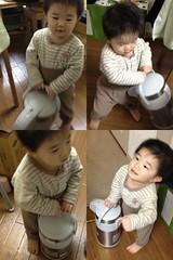 魔法瓶(ポット)を運ぶとらちゃん(2012/1/11)