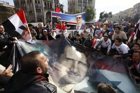 A demonstration supporting the government of President Bashar al-Assad. The government has said that the unrest is a product of a western conspiracy.