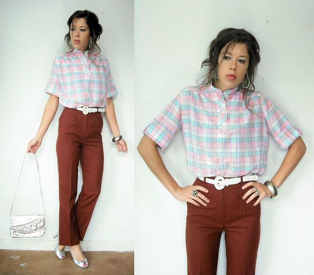 cotton candy plaid blouse