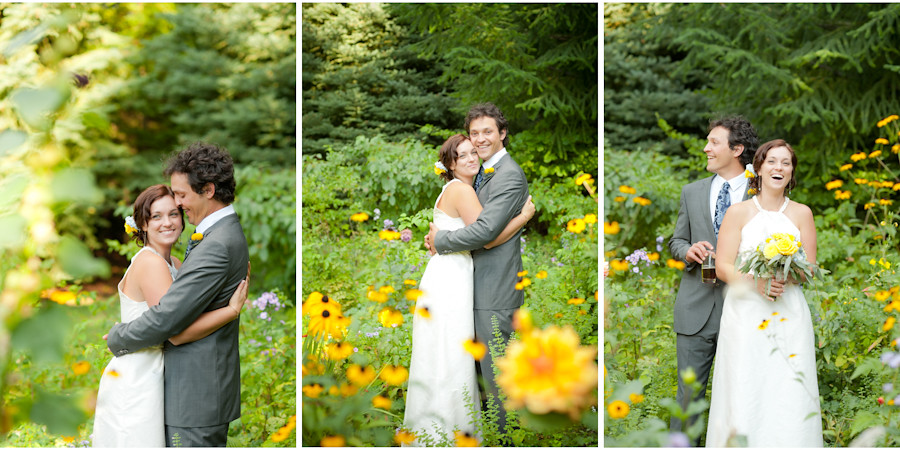Bride and Groom in yellow wildflowers at Mt. Hood Organic Farms