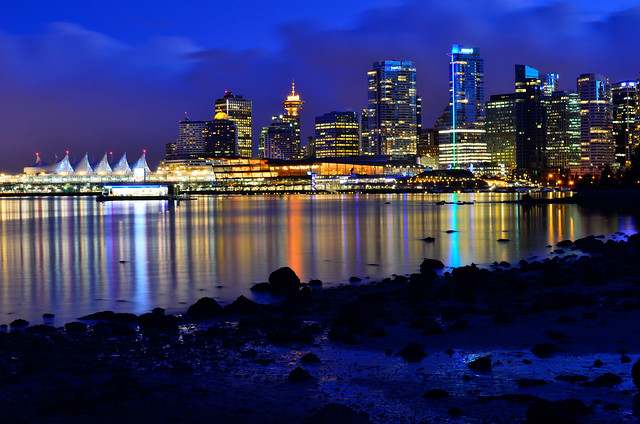 vancouver skyline at night - HDR