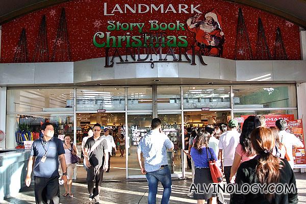 Entering Landmark shopping mall