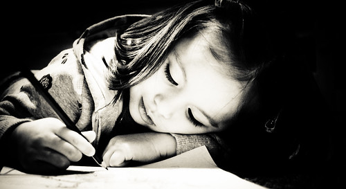 無料写真素材, 人物, 子供  女の子, モノクロ, 絵を描く, スペイン人