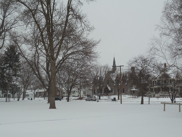 Snow looking across Commons Park