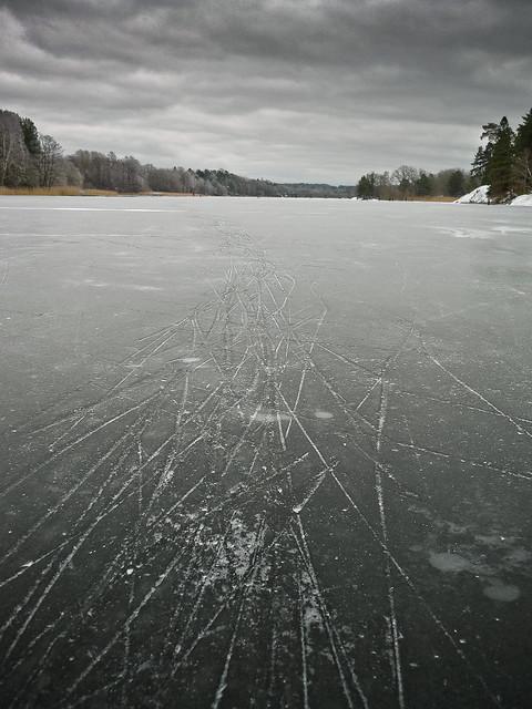 Skridskospår på isen