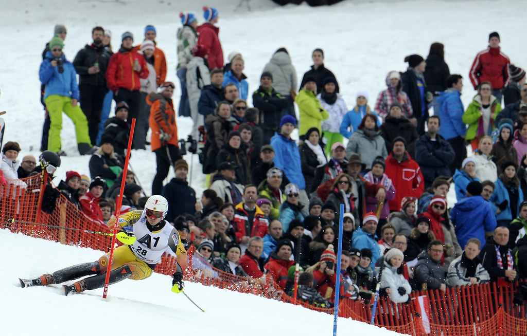 Brad Spence races in the Kitzbühel, Austria, slalom.