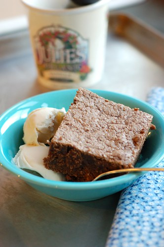Cupboard brownies and vanilla icecream by Eve Fox, Garden of Eating blog, copyright 2012