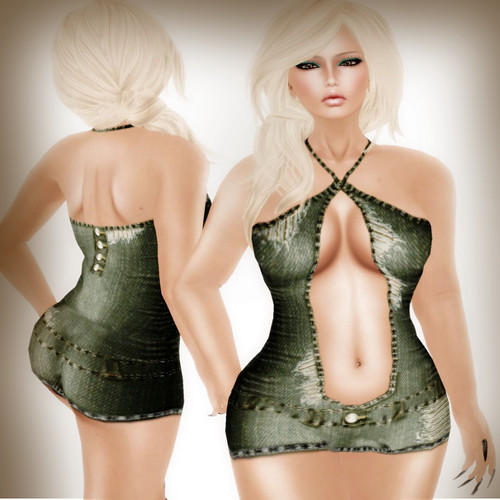 A&A Fashion Jeans Dress green