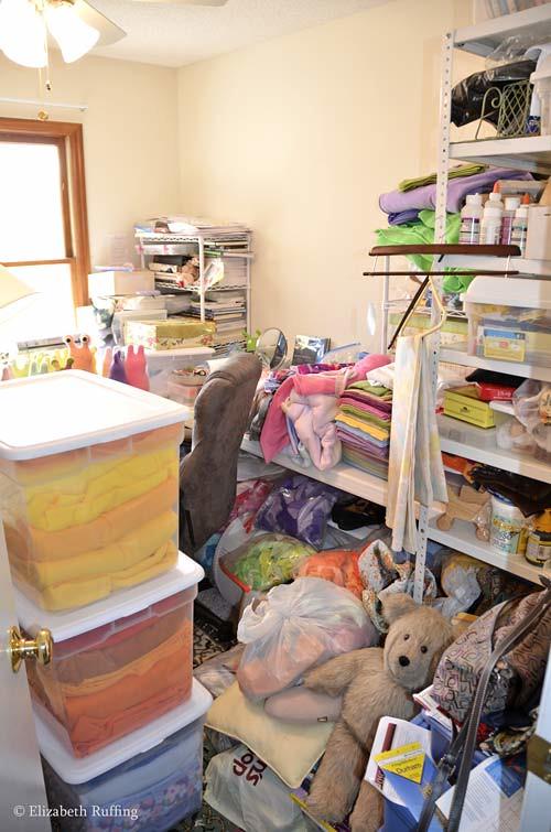 My very full workroom, by Elizabeth Ruffing