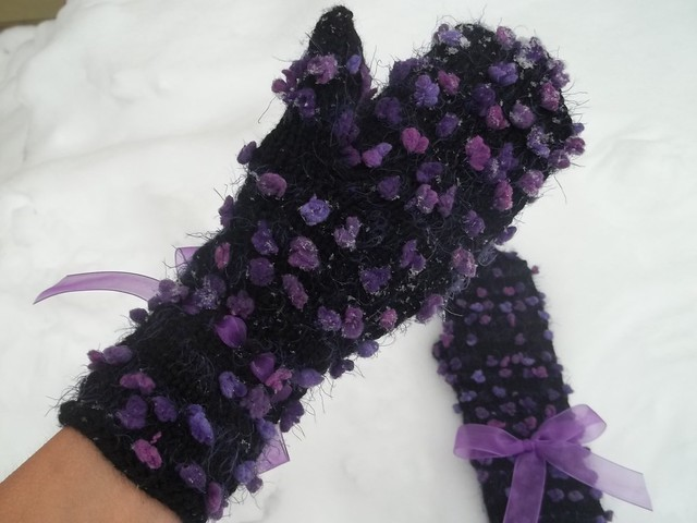 hand knit black mittens with lilac ribbon bow