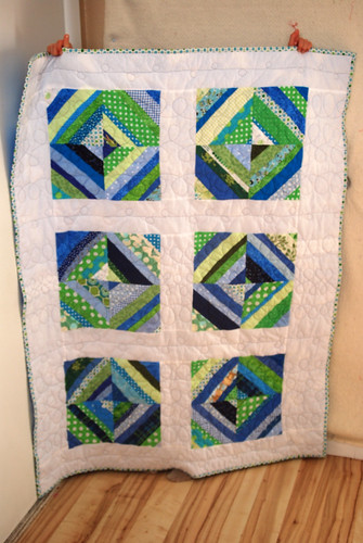 Blue and Green String Quilt