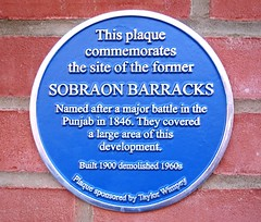 Photo of Sobraon Barracks blue plaque