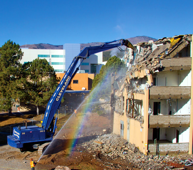 Los Alamos National Laboratory in October 2011 completed the careful demolition of its former Administration Building. Demolition of the 316,500-square-foot building that was home to seven Laboratory directors was completed five months ahead of the original schedule and significantly under budget.  The structure—four stories plus a basement—opened in 1956 and closed in September 2008.  Norris Bradbury was the first Lab director to occupy the building. Bradbury followed J. Robert Oppenheimer, the Lab's first director. Bradbury was director from 1945 to 1970.  <a href=