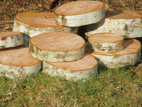 Natural wood coasters and platters