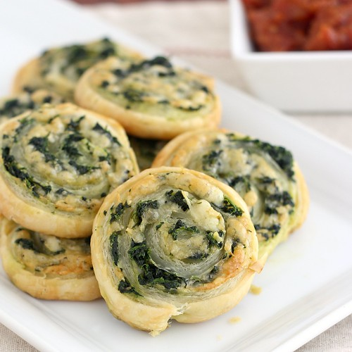 Spinach Gruyere Puff Pastry Pinwheels