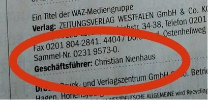 Westdeutsche Allgemeine Zeitung (WAZ): Impressum 03.02.2012 (Christian Nienhaus)