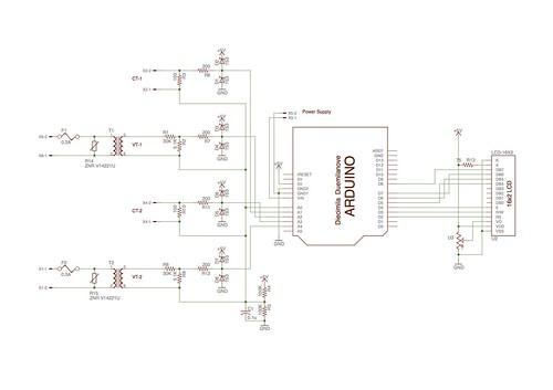 Arduino電力計回路図