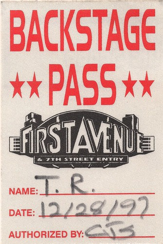 1997-12-28 Teenage Rampage Backstage Pass