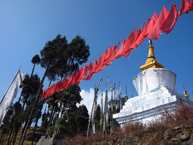 Chorten and Prayer Flags at Sanga Choling