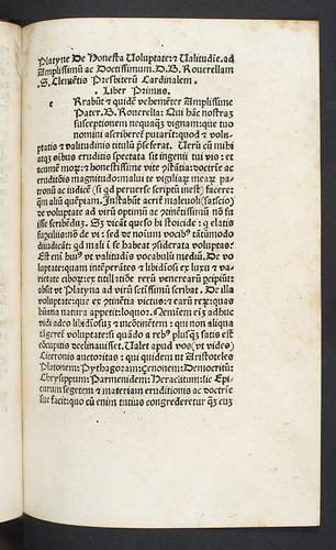 Title incipit of Platina, Bartholomaeus: De honesta voluptate et valetudine